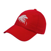 Red Twill Unstructured Low Profile Hat-Lion Head
