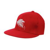 Red OttoFlex Flat Bill Pro Style Hat-Lion Head