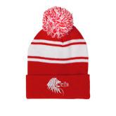 Red/White Two Tone Knit Pom Beanie w/Cuff-Lion Head w/ Celts