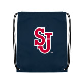Nylon Navy Drawstring Backpack-SJ
