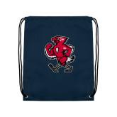 Nylon Navy Drawstring Backpack-Mascot