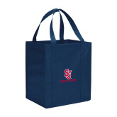 Non Woven Navy Grocery Tote-SJ Redstorm Stacked