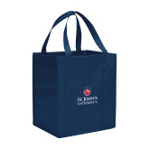 Non Woven Navy Grocery Tote-University Mark Stacked