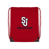 Red Drawstring Backpack-SJ Redstorm Stacked