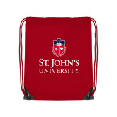 Red Drawstring Backpack-University Mark Stacked