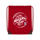 Red Drawstring Backpack-We are New Yorks Team