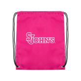 Nylon Pink Drawstring Backpack-St Johns