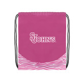 Nylon Zebra Pink/White Patterned Drawstring Backpack-St Johns