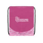 Nylon Zebra Pink/White Patterned Drawstring Backpack-St Johns