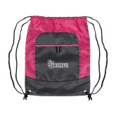 Nylon Pink Raspberry/Deep Smoke Pocket Drawstring Backpack-St Johns