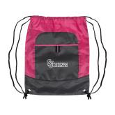 Nylon Pink Raspberry/Deep Smoke Pocket Drawstring Backpack-St Johns