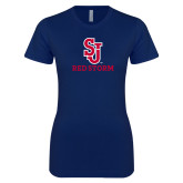 Next Level Ladies SoftStyle Junior Fitted Navy Tee-SJ Redstorm Stacked