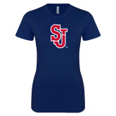 Next Level Ladies SoftStyle Junior Fitted Navy Tee-SJ