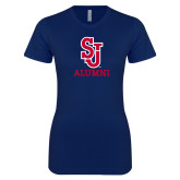 Next Level Ladies SoftStyle Junior Fitted Navy Tee-Alumni