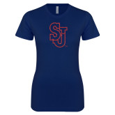 Next Level Ladies SoftStyle Junior Fitted Navy Tee-SJ Red Glitter