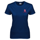 Ladies Navy T Shirt-SJ Redstorm Stacked