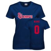 Ladies Navy T Shirt-St Johns, Custom Tee w/ Name and #
