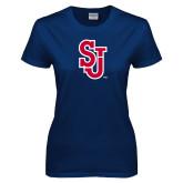 Ladies Navy T Shirt-SJ