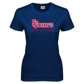 Ladies Navy T Shirt-St Johns Red Storm