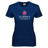 Ladies Navy T Shirt-University Mark Stacked