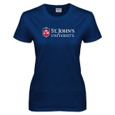 Ladies Navy T Shirt-University Mark Flat