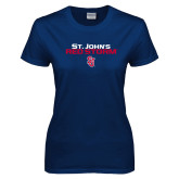 Ladies Navy T Shirt-St Johns Red Storm Stacked