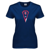 Ladies Navy T Shirt-Modern Lacrosse Stick