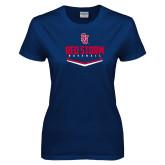 Ladies Navy T Shirt-Baseball Plate Design