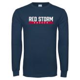 Navy Long Sleeve T Shirt-Soccer Bar Design