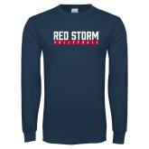 Navy Long Sleeve T Shirt-Volleyball Bar Design