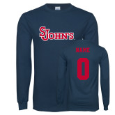 Navy Long Sleeve T Shirt-St Johns, Custom Tee w/ Name and #