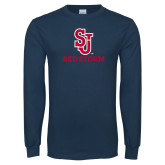 Navy Long Sleeve T Shirt-SJ Redstorm Stacked