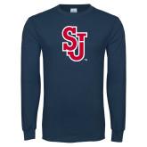 Navy Long Sleeve T Shirt-SJ