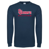 Navy Long Sleeve T Shirt-St Johns Red Storm