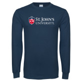 Navy Long Sleeve T Shirt-University Mark Flat