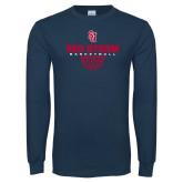 Navy Long Sleeve T Shirt-Basketball Sharp Net Design