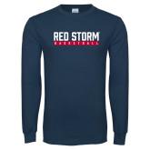 Navy Long Sleeve T Shirt-Basketball Bar Design