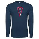 Navy Long Sleeve T Shirt-Modern Lacrosse Stick