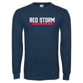 Navy Long Sleeve T Shirt-Lacrosse Bar Design