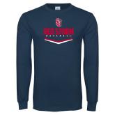Navy Long Sleeve T Shirt-Baseball Plate Design