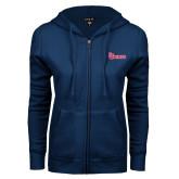 ENZA Ladies Navy Fleece Full Zip Hoodie-St Johns