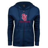 ENZA Ladies Navy Fleece Full Zip Hoodie-SJ Redstorm Stacked