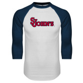 White/Navy Raglan Baseball T Shirt-St Johns