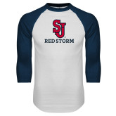 White/Navy Raglan Baseball T Shirt-SJ Redstorm Stacked
