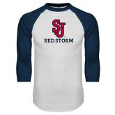 White/Navy Raglan Baseball T Shirt-SJ Redstorm Stacked
