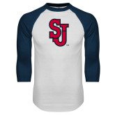 White/Navy Raglan Baseball T Shirt-SJ