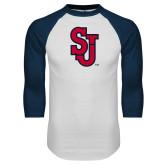 White/Navy Raglan Baseball T Shirt-SJ