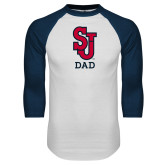 White/Navy Raglan Baseball T Shirt-Dad