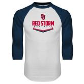 White/Navy Raglan Baseball T Shirt-Baseball Plate Design