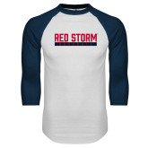 White/Navy Raglan Baseball T Shirt-Baseball Bar Design